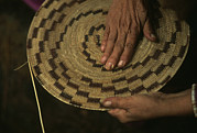 Artists And Artisans Art - A Native American Basket Weaver by Phil Schermeister