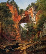 Overhang Painting Framed Prints - A Natural Bridge in Virginia Framed Print by David Johnson