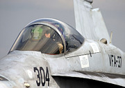 F-18 Prints - A Naval Aviator Performs Preflight Print by Stocktrek Images