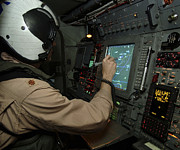 Control Panels Framed Prints - A Naval Flight Officer Tracks Aircraft Framed Print by Stocktrek Images