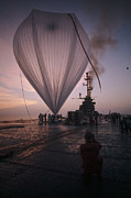 Color Of Dawn Posters - A Naval Hot-air Balloon Tugs Poster by Walter Meayers Edwards