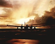 Cosmic Posters - A Navy P2v Patrol Plane At Sunset Poster by Rex A. Stucky