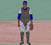  Baseball Art Mixed Media - A Negro League Catcher by Pharris Art