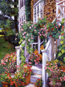 Front Porch Painting Framed Prints - A New England Visit Framed Print by David Lloyd Glover
