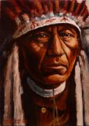 Head Dress Framed Prints - A Nez Perce Framed Print by Cara Zietz