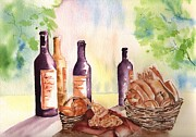 Loaf Of Bread Painting Prints - A Nice Bread and Wine Selection Print by Sharon Mick