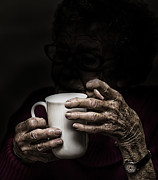 Elderly Hands Prints - A nice cup of tea Print by Sheila Smart