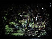 Moonshine Paintings - ..a Night At The Enchanted Forest. by Adolfo hector Penas alvarado