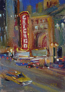 Chicago Pastels Posters - A Night at the Theater Poster by Karen Margulis
