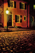 Cobblestone Street Prints - A Night in Charleston Print by Eggers   Photography