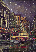 Trolley Paintings - A Night In Town by Dinah Anaya