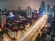 Residential District Framed Prints - A Night View Of A Shanghai Residential Area Framed Print by Eightfish
