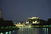 Salzburg Framed Prints - A night view of Salzburg Framed Print by Taylor S. Kennedy