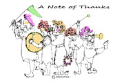 Marching Band Drawings - A Note of Thanks by Marilyn Weisberg