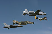 Old Objects Prints - A P-51 Mustang, An F-4 Phantom, An A-10 Print by Stocktrek Images