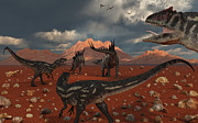 Saurischia Posters - A Pack Of Allosaurus Dinosaurs Track Poster by Mark Stevenson