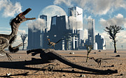 Food Chain Digital Art Posters - A Pack Of Velociraptors Come Poster by Mark Stevenson