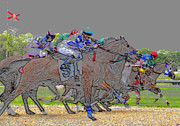 Horse Racing Art Posters - A packed field Poster by David Lee Thompson
