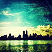 Skyline Framed Prints - A Paintbrush Sky over NYC Framed Print by Luke Kingma