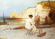 By The Sea Framed Prints - A Painter by the Sea Side Framed Print by William Henry Lippincott