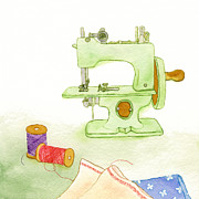 Color Purple Prints - A Painting Of A Sewing Machine Print by Coharu Aya