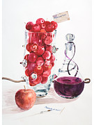 Red Wine Bottle Prints - A Painting Of Fruits And Wine Print by Ayako Tsuge