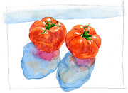Lettuce Digital Art Framed Prints - A Painting Of Two Heirloom Tomatoes Framed Print by Kazuhiro Iwata