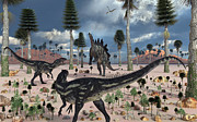 Primeval Prints - A Pair Of Allosaurus Dinosaurs Confront Print by Mark Stevenson