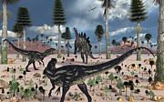 A Pair Of Allosaurus Dinosaurs Confront Print by Mark Stevenson