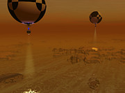 Astronautics Art - A Pair Of Balloon-borne Probes by Walter Myers