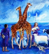 Noahs Ark Painting Acrylic Prints - A Pair of Giraffes Acrylic Print by Trudi Doyle