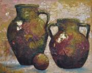 Pottery Paintings - A Pair of Jugs by Ginger Concepcion
