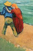 Cuddling Framed Prints - A Pair of Lovers Framed Print by Vincent Van Gogh