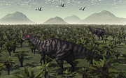 Parasaurolophus Prints - A Pair Of Parasaurolophus Walk Print by Mark Stevenson