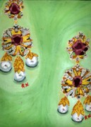 Gold Earrings Painting Metal Prints - A Pair Of Pearl Earrings Metal Print by Rani Neelakantan