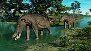 Animal Themes Digital Art Posters - A Pair Of Platybelodon Grazing Poster by Walter Myers