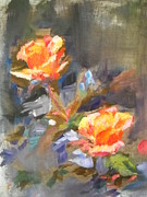 Oil On Masonite Posters - A Pair of Roses Poster by Adriana Guidi