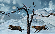 Bare Trees Prints - A Pair Of Sabre-toothed Tigers Giving Print by Mark Stevenson