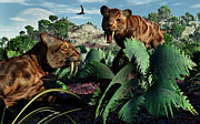 Saber Digital Art - A Pair Of Sabre-toothed Tigers by Mark Stevenson