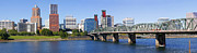 Businesses Prints - A panorama of downtown Portland Oregon Hawthorne bridge. Print by Gino Rigucci
