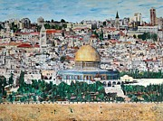 Olives Framed Prints - A panoramic view of Jerusalem Framed Print by Abraham Zimmermann