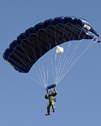 A Paratrooper Descends Through The Sky Print by Stocktrek Images