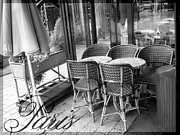 Chaise Digital Art Metal Prints - A Parisian Sidewalk Cafe in Black and White Metal Print by Jennifer Holcombe