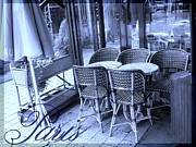 Chaise Digital Art Metal Prints - A Parisian Sidewalk Cafe in Blue Metal Print by Jennifer Holcombe
