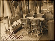 Chaise Digital Art Metal Prints - A Parisian Sidewalk Cafe in Sepia Metal Print by Jennifer Holcombe