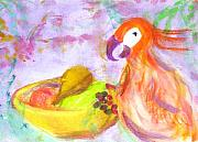 Passion Fruit Painting Prints - A Parrot and the Passion Fruit Print by Michaela Akers