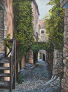Cobblestone Painting Prints - A Passage In Time Print by Charlotte Blanchard