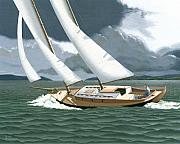 Sailing Paintings - A passing squall by Gary Giacomelli