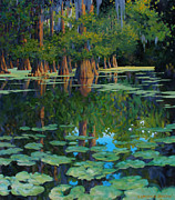 Louisiana Swamp Prints - A Patch of Blue Print by Kevin Lawrence Leveque