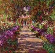 Blossoms Painting Prints - A Pathway in Monets Garden Giverny Print by Claude Monet